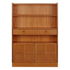 Medium Bookcase with Doors  - Teak
