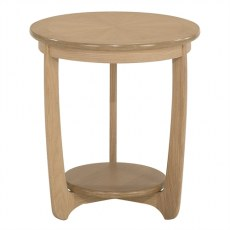 Nathan Shades Oak  Sunburst Top Round Lamp Table