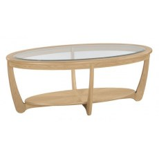 Nathan Shades Oak Glass Top Oval Coffee Table