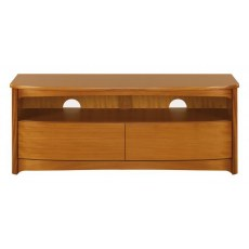 Shaped TV Unit with Drawers  - Teak