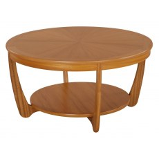 Sunburst Round Coffee Table - Teak