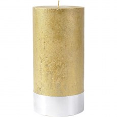 Gold Rustica Pillar Candle 10x20cm
