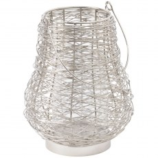 Polished Silver Woven Small Lantern With Handle