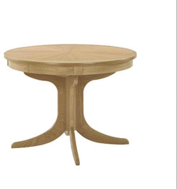 Nathan Nathan Shades Oak Circular Pedestal Dining Table with Sunburst Top