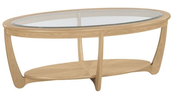 Nathan Nathan Shades Oak Glass Top Oval Coffee Table