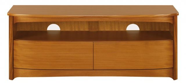 Nathan Shaped TV Unit with Drawers  - Teak