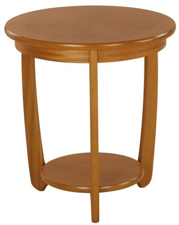 Nathan Sunburst Top Round Lamp Table  - Teak