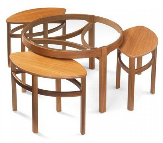 Oval Coffee Table Nest: Nathan Glass Top Trinity Nest Of 3 Tables