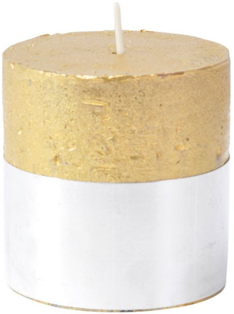 Gold Rustica Pillar Candle 7x7cm